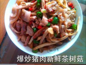 爆炒猪肉新鲜茶树菇