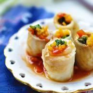 茄汁彩蔬鱼卷