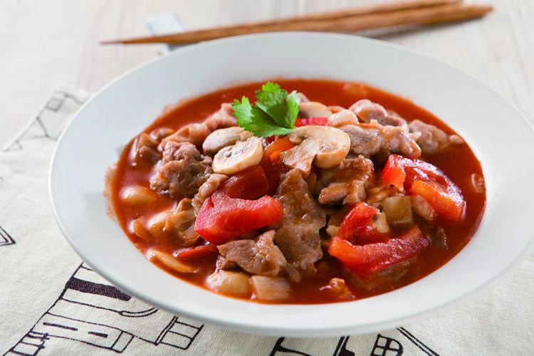茄汁蘑菇肉片