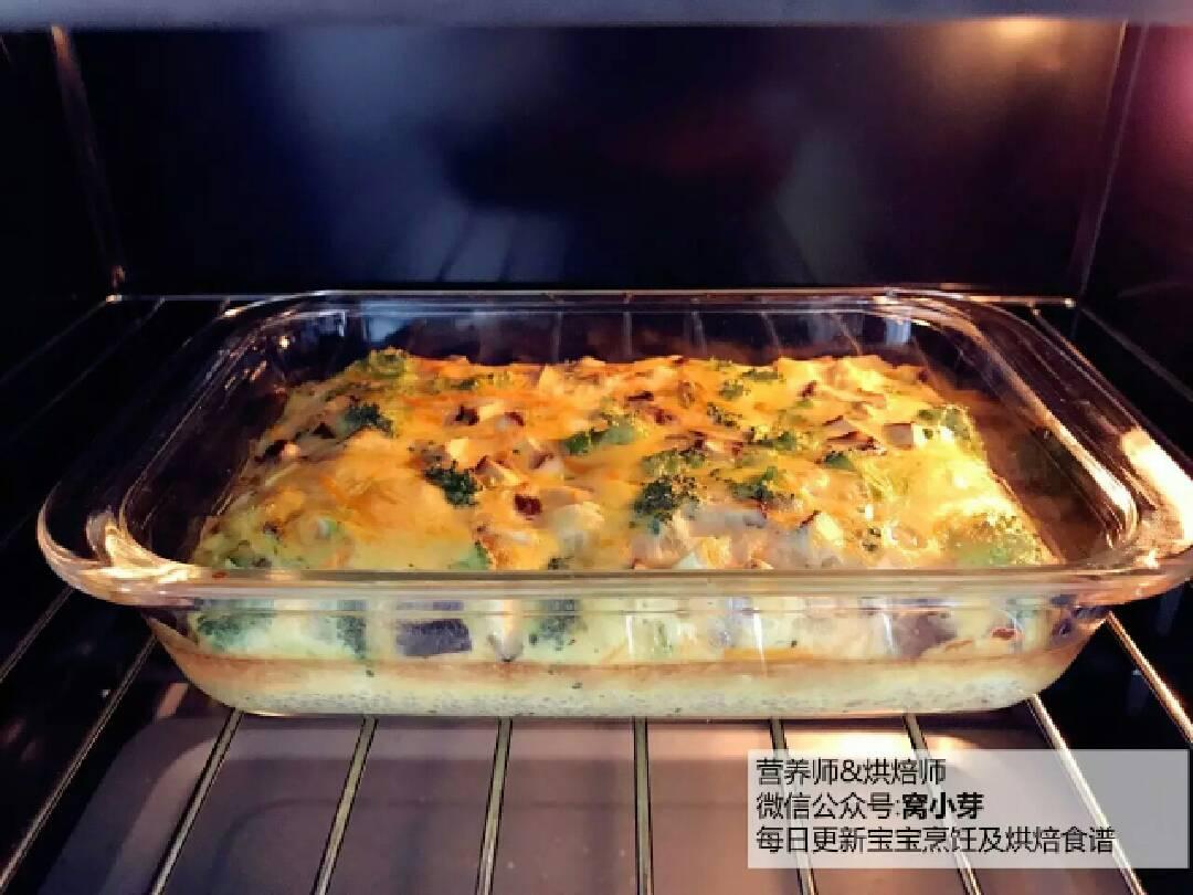 西兰花鸡肉烘蛋的做法和步骤第10张图