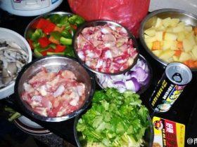 椰汁薯仔咖喱鸡、杂菇炒鸡肾