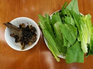 豆豉鲮鱼油麦菜,炒好的豆豉鲮鱼盛出备用