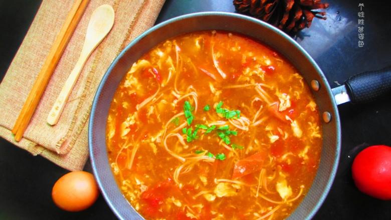 番茄金针菇蛋汤