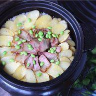懒人餐,一锅出——腊肉排骨饭