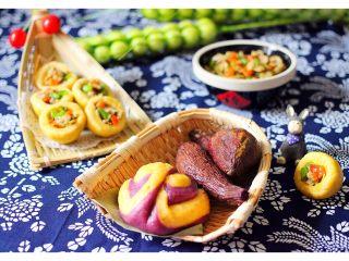金玉窝窝头+虾酱鸡蛋小炒,再配上双薯花卷和双薯🍠
