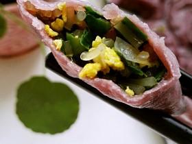 紫薯皮鸭蛋韭菜粉条馅素饺子(一饺两吃)