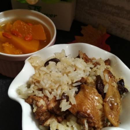 鸡肉香菇饭+南瓜枸杞汤