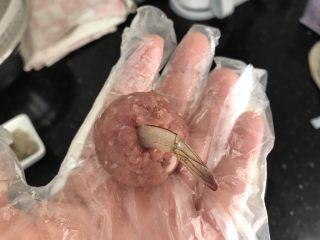 玉子凤尾虾球,把虾仁放进小窝里,捏紧,带硬壳部分外露