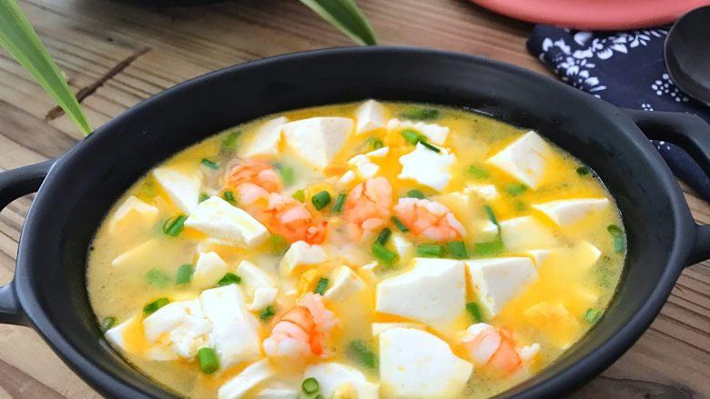蛋黄虾仁豆腐