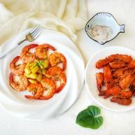 鲜香蒜爆土豆虾+焦香椒盐虾头~(一虾两吃不浪费)