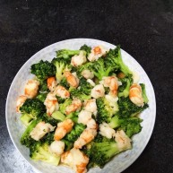 虾炒绿菜花