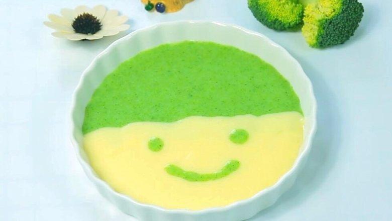 西兰花蛋黄米糊 宝宝辅食,好看好吃好营养