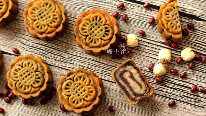 【斑纹豆沙莲蓉月饼】自制红豆沙+白莲蓉