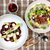 鲜花牛排沙拉&甜菜坚果芝士沙拉佐女巫沙拉汁