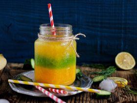 三色冰水果汁