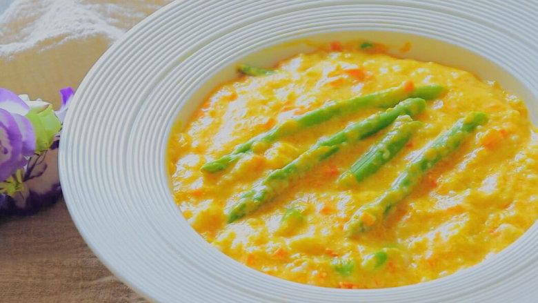 南瓜蔬菜浓汤 宝宝辅食,胡萝卜+奶粉+芦笋