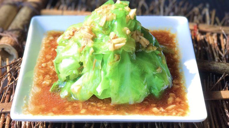 蚝汁蒜香卷心菜