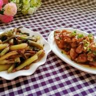 #厨房挑战 #荤菜:照烧鸡腿+素菜:酸辣红菜苔