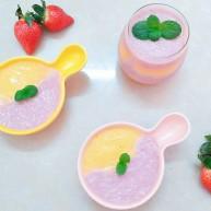 鲜草莓芒果双色布丁