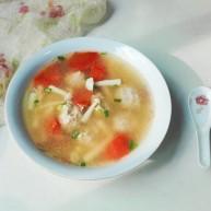 厨房挑战+荤菜+海鲜菇歪刀块胡萝卜汆汤团子。