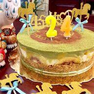 抹茶双味芝士生日蛋糕