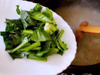 生滚菠菜猪肝羹,加入洗净切段的菠菜