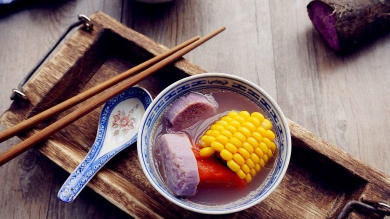 紫淮山玉米猪骨汤