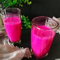 百变水果&紫色魅惑_红心火龙果奶昔