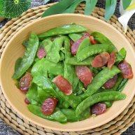 经典下饭菜腊肠炒荷兰豆,油乎乎和脆生生的完美结合