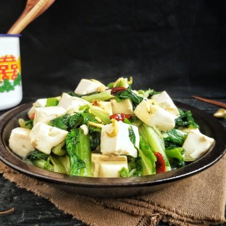 莴苣叶炒豆腐
