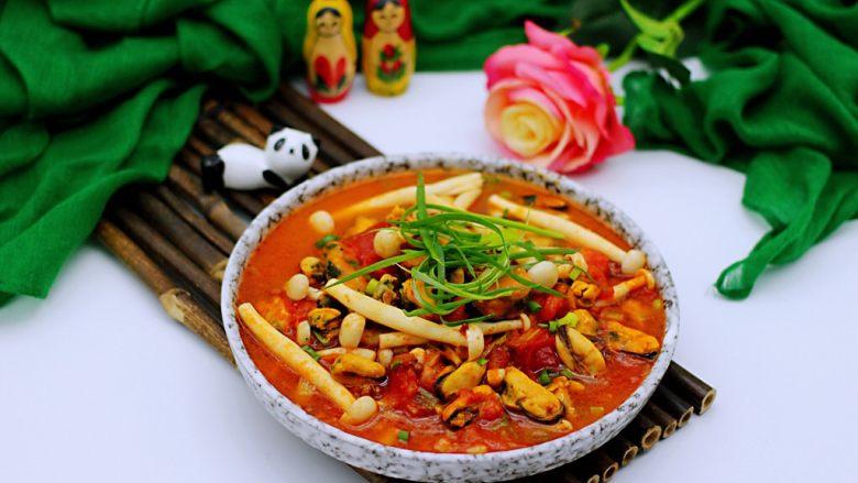 家常小炒白玉菇番茄青口肉