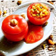 颜值爆表的  松仁玉米番茄盅