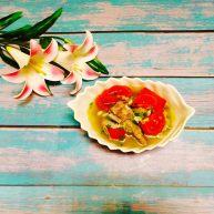 """西红柿绿豆排骨<span style=""""color:red"""">汤</span>"""