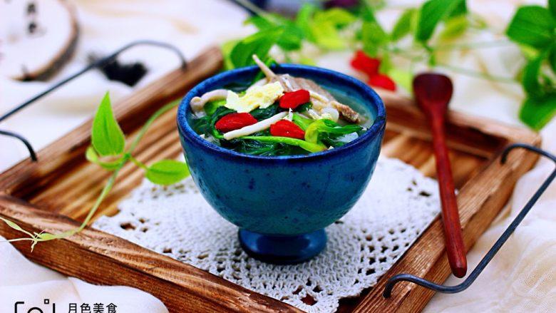 菠菜白玉菇虾皮汤