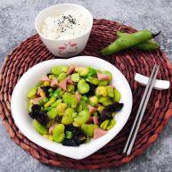 蚕豆炒火腿