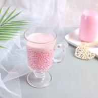 天然粉色: 红心火龙果牛奶西米露