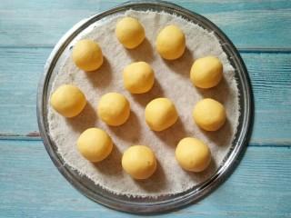 南瓜椰蓉糕,将面团均匀地分割成小剂子,搓成小圆球
