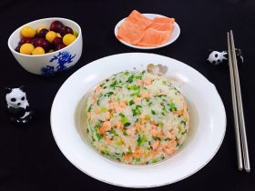 三文鱼韭菜炒饭