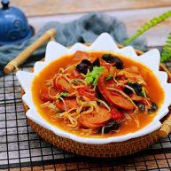 快手正餐  番茄绿豆芽火腿小炒