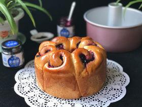 蓝莓酱玫瑰花面包#一次揉面&一次发酵#