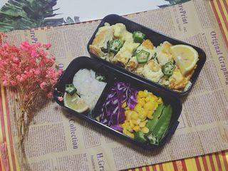 香煎鳕鱼➕彩虹沙拉🌈➕秋葵厚蛋烧减脂餐便当