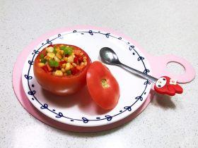 宝宝健康食谱   什锦火腿番茄盅
