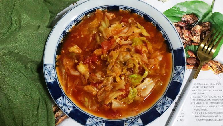 蒜香茄汁西红柿炒卷心菜