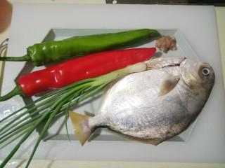 红烧金鲳鱼,准备好所有的食材,卖鱼大叔已帮忙清理内脏