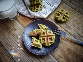 抹茶蜜豆华夫饼