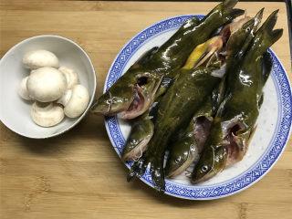 蘑菇汪丁鱼汤,准备好材料。