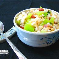 莴笋香肠炒五谷饭