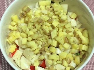 茄子炒豆角,姜切末