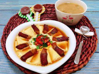 腊肉蒸豆腐卧蛋,好可爱的早餐宝贝超级喜欢