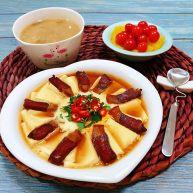 腊肉蒸豆腐卧蛋